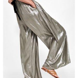 Zara Metallic High Waist Wide Leg Pants